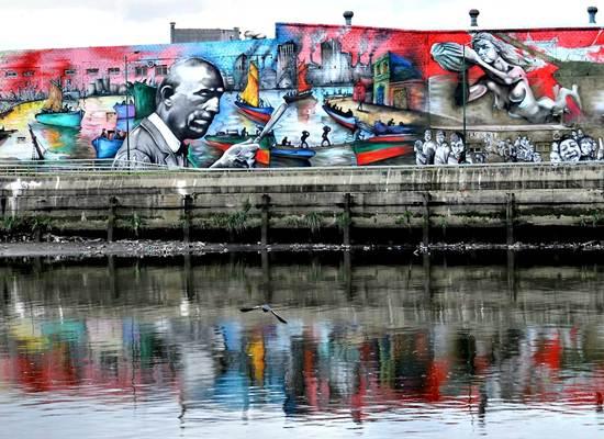 Parte do mural considerado o maior da América do Sul. Foto: Divulgação