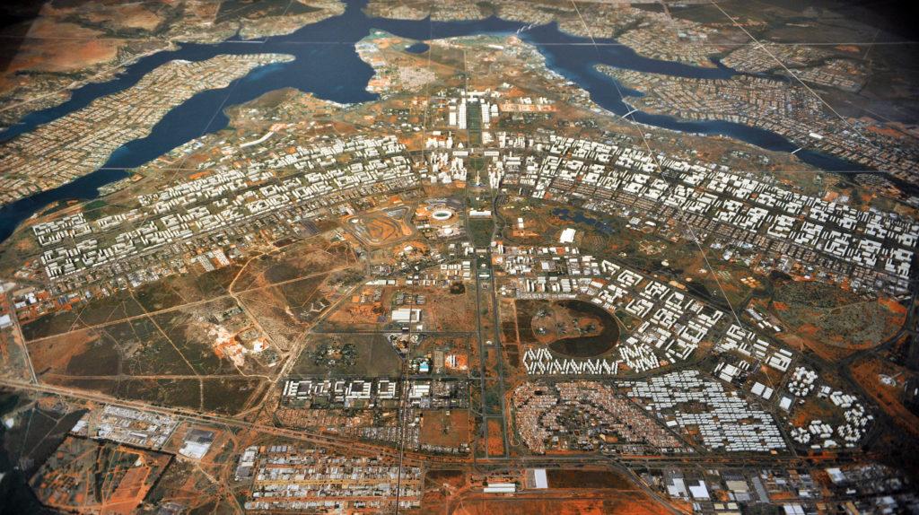 Plano Piloto Visto de cima. Projeto de Oscar Niemeyer e Lucio Costa. Foto divulgação.